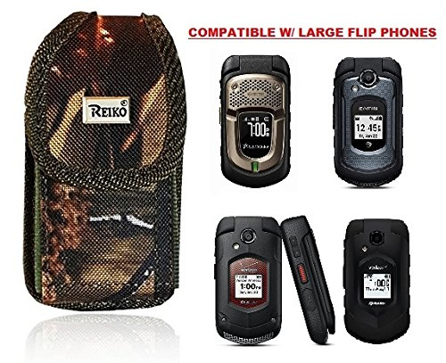 Premium Vertical Hunting CAMO Belt Case, Outdoor Tactical Pouch Holster Flip Phone Belt Case Fits Kyocera Cadence, Dura XTP, Dura XV E4520 Case, DuraXV Plus, Dura XE, Convoy 4, Most FLIP Phone - Phone Case Fit