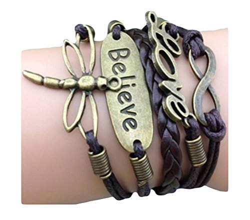Vintage Style Brown Leather Rope Bronzed Dragonfly Believe Love Letters Love Bracelet