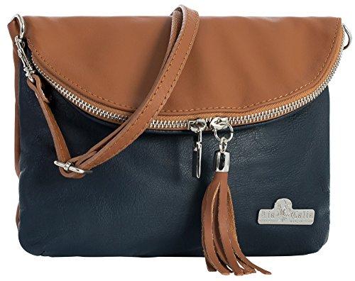 Deep Tan Leather Bag Body AMY Real Navy Size Trim Small Soft Shoulder Italian Medium Messenger Cross LIATALIA qOwFpZx