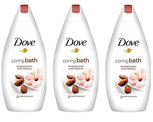 Dove Caring Bath, Almond Cream & Hibiscus Scent With Moisturizing Cream, 16.9 Ounce / 500 Ml (Pack of 3)