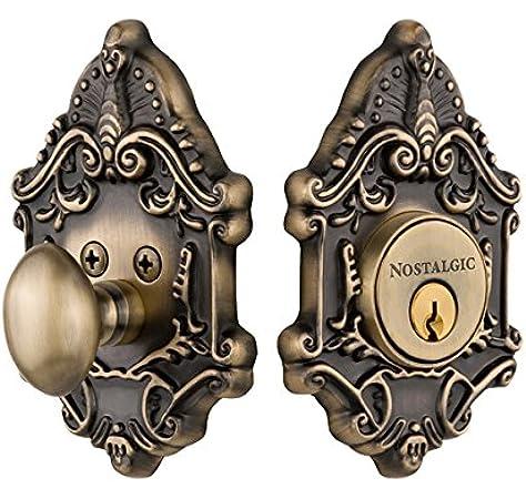 Nostalgic Warehouse 726055 Victorian Plate Single Cylinder Deadbolt Victorian Door Knob In Antique Brass Door Lock Replacement Parts Amazon Com