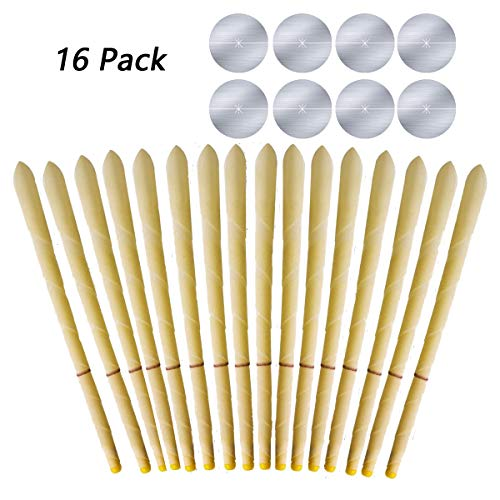 - 16 Pcs Indian Fragrance Aromatherapy Ear Candle Beauty Salon Supplies Foot Bath Store Ear Candlestick with 8 Protective Disks