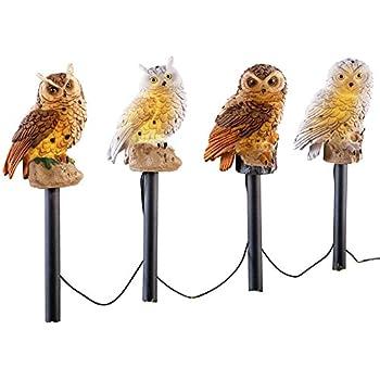 Solar Owl Garden Decor Yard Stakes   4 Pc, Brown