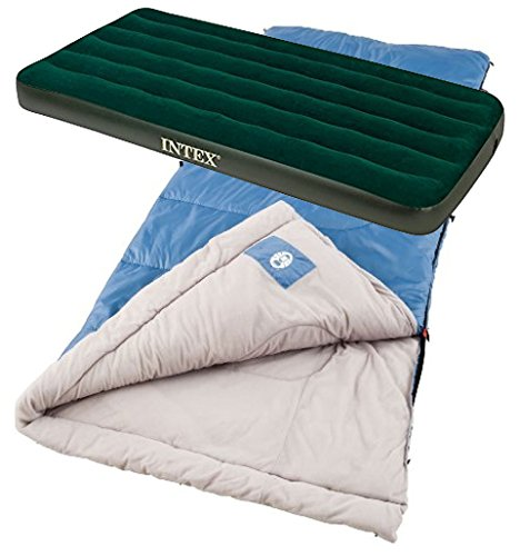 Bundle Includes 2 Items - Coleman Trinidad Warm-Weather Sleeping Bag and Intex Prestige Downy Airbed Kit with Hand Held Battery Pump, Twin