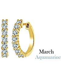 """14k Yellow Gold Over Sterling Silver Round Cut Birthstone Front Hoop Earrings (0.64"""" Diameter, 0.7 Cttw)"""