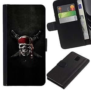 Billetera de Cuero Caso del tirón Titular de la tarjeta Carcasa Funda del zurriago para Samsung Galaxy Note 3 III N9000 N9002 N9005 / Business Style Pirate Crest Skull & Sword