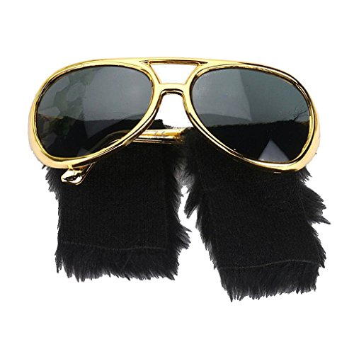 Novelty Glasses Side Whiskers Sunglasses Elvis Presley Glasses 70s Disco Costume Props]()