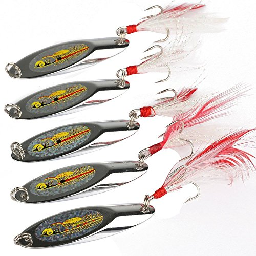Bucktail Fishing Lures (Goture Long Distance Cast Metal Spoon Fishing Lures (Pack of 10))