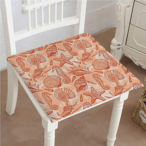 Chair Pads Squared Seat Sea Mix with Seahorse Shells Star Theme Orange Outdoor Dining Garden Patio Home Kitchen Office ()