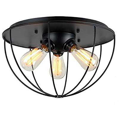 UNITARY BRAND Black Vintage Metal Shade Industrial Flush Mount Light Max. 180W With 3 Lights Painted Finish