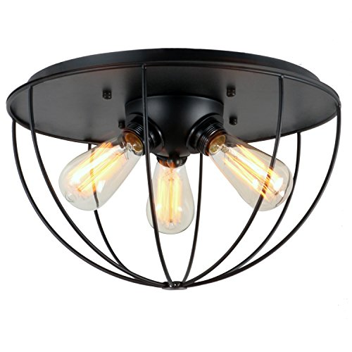 Traditional 3 Light Island (UNITARY BRAND Black Vintage Metal Shade Industrial Flush Mount Light Max. 180W With 3 Lights Painted Finish)