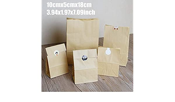 Amazon.com: 10cmx5cmx18cm 50Pcs Cake Bread Kraft Paper Bag ...