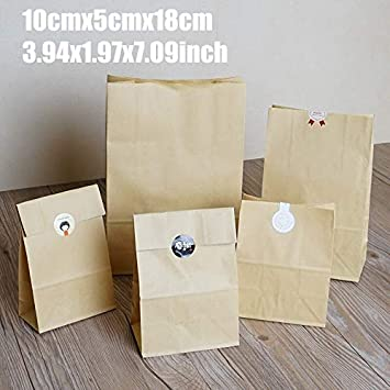 Amazon.com: 10cmx5cmx18cm 50Pcs Cake Bread Kraft Paper Bag ...