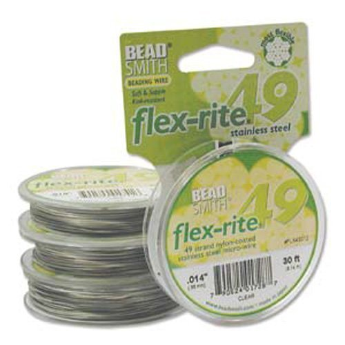 Beadsmith Flex-rite 49 Strand Beading Wire - Clear Coated S.S Wire - .014