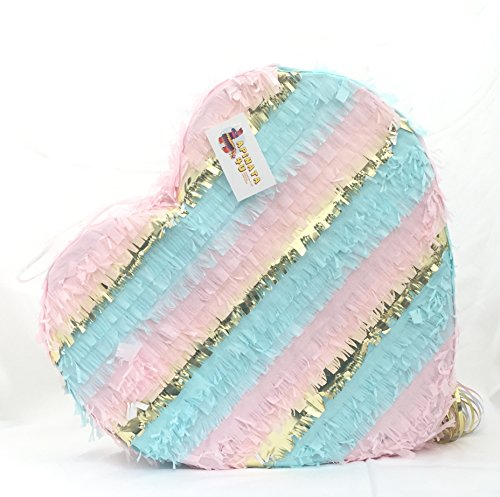 APINATA4U Pink Blue & Gold Gender Reveal Heart Pinata Pull Strings & ()