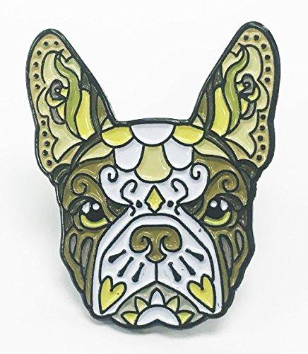 French Bulldog Brown White Sugar Skull Tattoo Breed Dog Lover Enamel Lapel (Bulldogs Enamel)