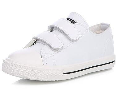 781b13b9adc VECJUNIA Fille Garçon Beau Basse Chaussures de Sport Tendance Course pour  Ecolier Baskets Blanc 25 EU