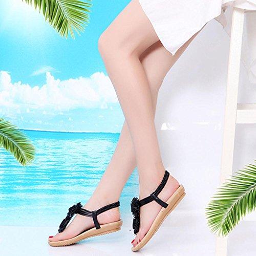 Fheaven Sandalen Vrouwen Platte Zomer Romeinse Bloem Sandalen Boho Bloemen Casual Elastische Goring Schoenen Slippers Zwart