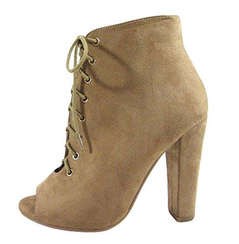 Delicious Women Nubuck Peep Toe Lace Up Thick Heel Bootie MVE Shoes