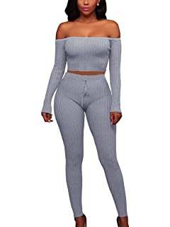 81ff03f2f5 MISFONDLE Women s Sexy 2 Piece Bodycon Off Shoulder Long Sleeve Ribbed  Skinny Jumpsuit