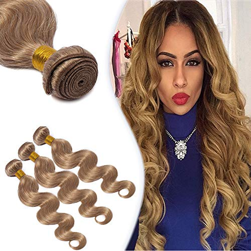 Honey Blonde Hair Bundle Unprocessed Brazilian Human Hair Body Wave Sew in Hair Weave Extensions 100g/Bundle #27 18