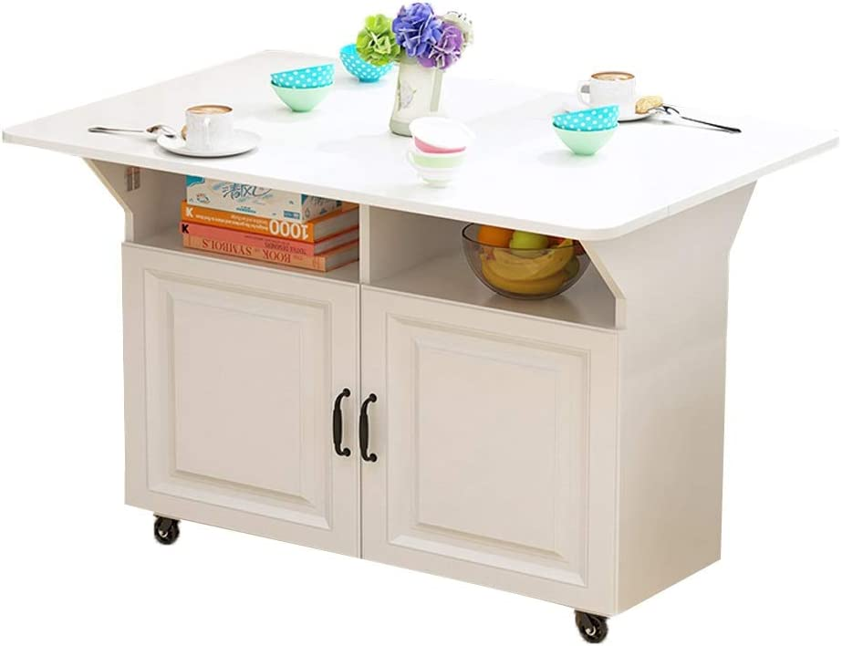 CXF- Mesas Mesa de Comedor Plegable Puerta Doble Escritorio móvil Muebles de estación de Trabajo con Ruedas for Ahorrar Espacio (Color : White, tamaño : Large)