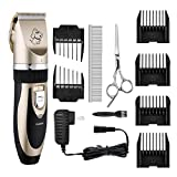 Dogs and Cats Electric Clipper, TOPELEK Professional Pet Hair Shaver with Low Noise Low Vibration, Rechargeable Cordless Pet Grooming Trimmer Kit with 6 Comb Guides, Extra Scissors, Cleaning Brush