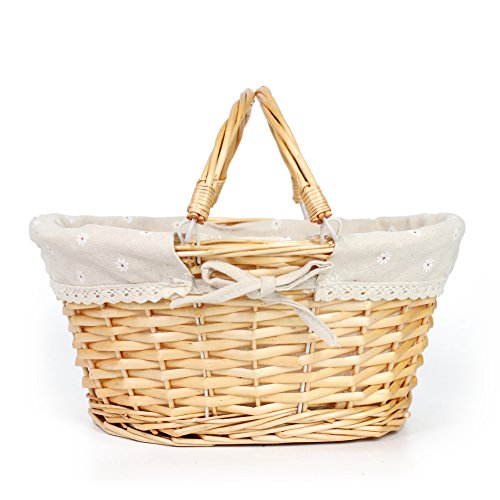 Willow Wicker Storage Basket Hamper Handles Natural Wooden: Easter Basket Gift Oval Willow With Double Drop Down