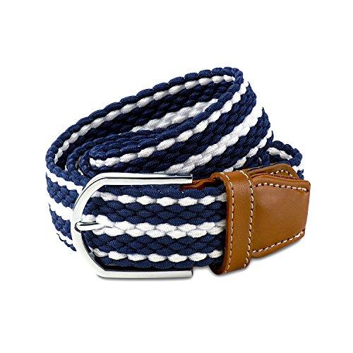 Scott Allan Men's Braided Stretch Cord Dress Belt - Navy Blue/White, Size 40 (Collection Braided Belt)