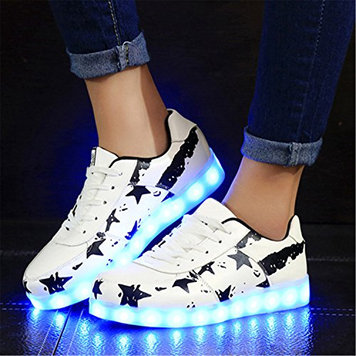 Shoes Adults Star Colorful Zapatos Usb Shoes Gerald Light Women Mujer Shoes Led Casual Rechargeable Lovers With Luminous Choi NEW Up For Blackw Glowing SqF81