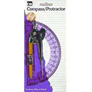 Charles Leonard Ball Bearing Compass and 6 Inch Protractor Combo Set, Metal/Clear Plastic, Assorted Colors, 1 Combo Pack (80960)
