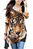 Relipop Women Fashion Shirt Long Sleeve Tiger Print Blouse Casual Tops Large