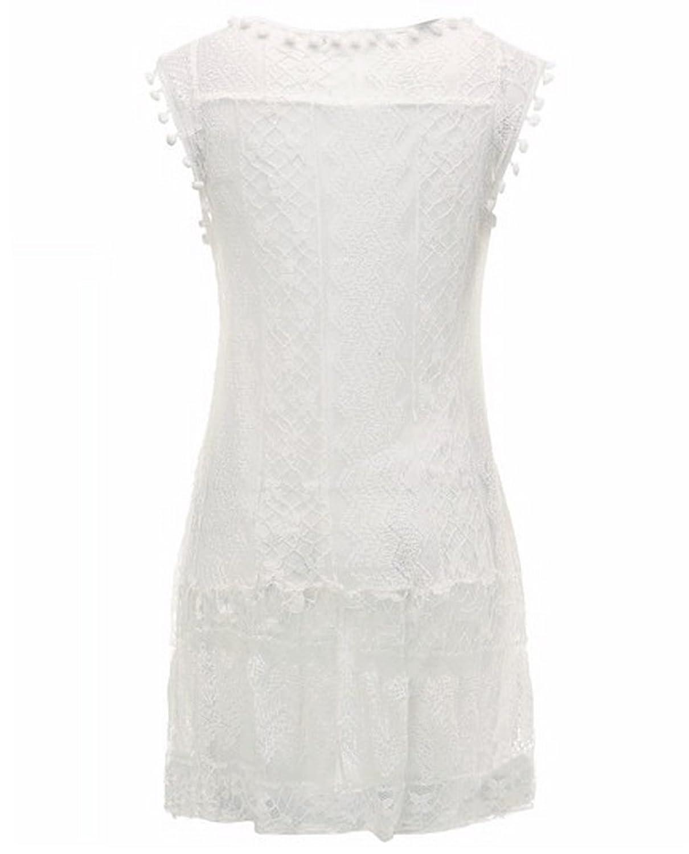 AIYUE Damen Sommerkleid Rundhals Ausschnitt Partykleid weiß ärmellos ...