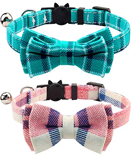 Joytale Breakaway Cat Collar with Bow Tie and Bell, Cute Plaid Patterns, 2 Pack Kitty Safety Collars