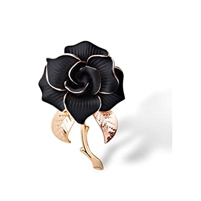 d00fe2f561b Amazon.com: METTU Rose Gold Flower Brooch Black and White Rose Petals  Brooches & Pins for Women: Jewelry