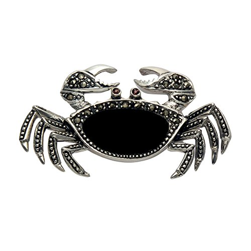 Wild Things Sterling Silver, Marcasite & Simulated Black Onyx Crab Pin w/Movable Front Claws