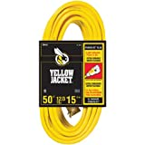 Yellow Jacket 2884 12/3 Heavy-Duty 15-Amp SJTW Contractor Extension Cord with Lighted Ends, 50-Feet