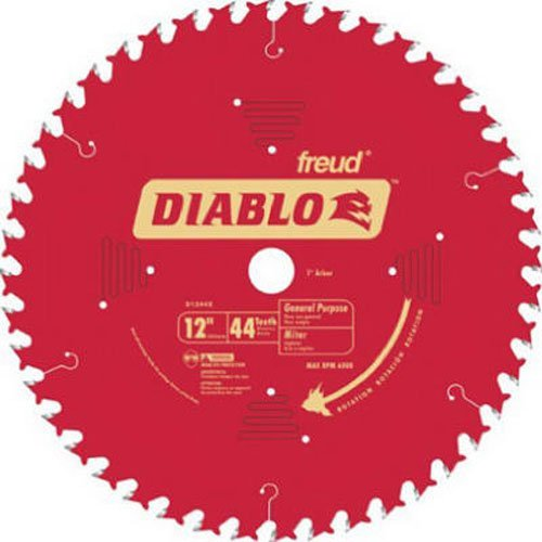 Freud D1244X Diablo 12-Inch 44 Tooth ATB General Purpose Miter Saw Blade with 1-Inch Arbor ()