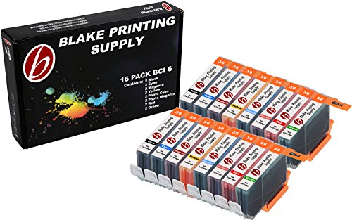 16 Pack Blake Printing Supply BCI6 Ink Cartridges for Canon PIXMA iP8500 i9900