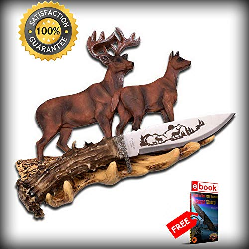 - 8'' Collectible Gift Deer Bowie Hunting SHARP KNIFE with Resin Antler Display Stand Combat Tactical Knife + eBOOK by Moon Knives
