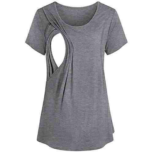 - Rambling Fashion Women's Casual Loose Short Sleeve Maternity Layered Nursing Tops for Breastfeeding Gray