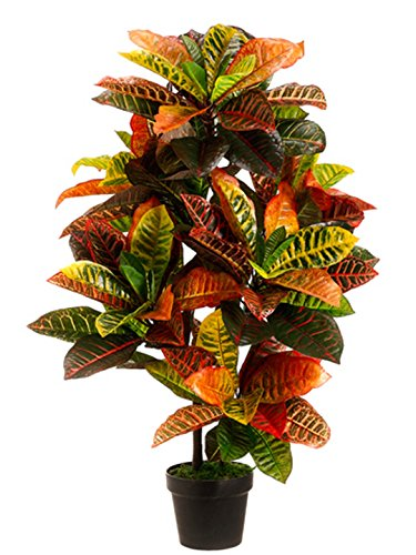 One 3 Foot Outdoor Artificial Croton Palm Tree UV Rated Potted Plant 1