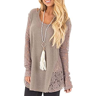 Discount Yonala Womens Casual Lace Patchwork Long Sleeve Pullover Sweater Knit Tops supplier
