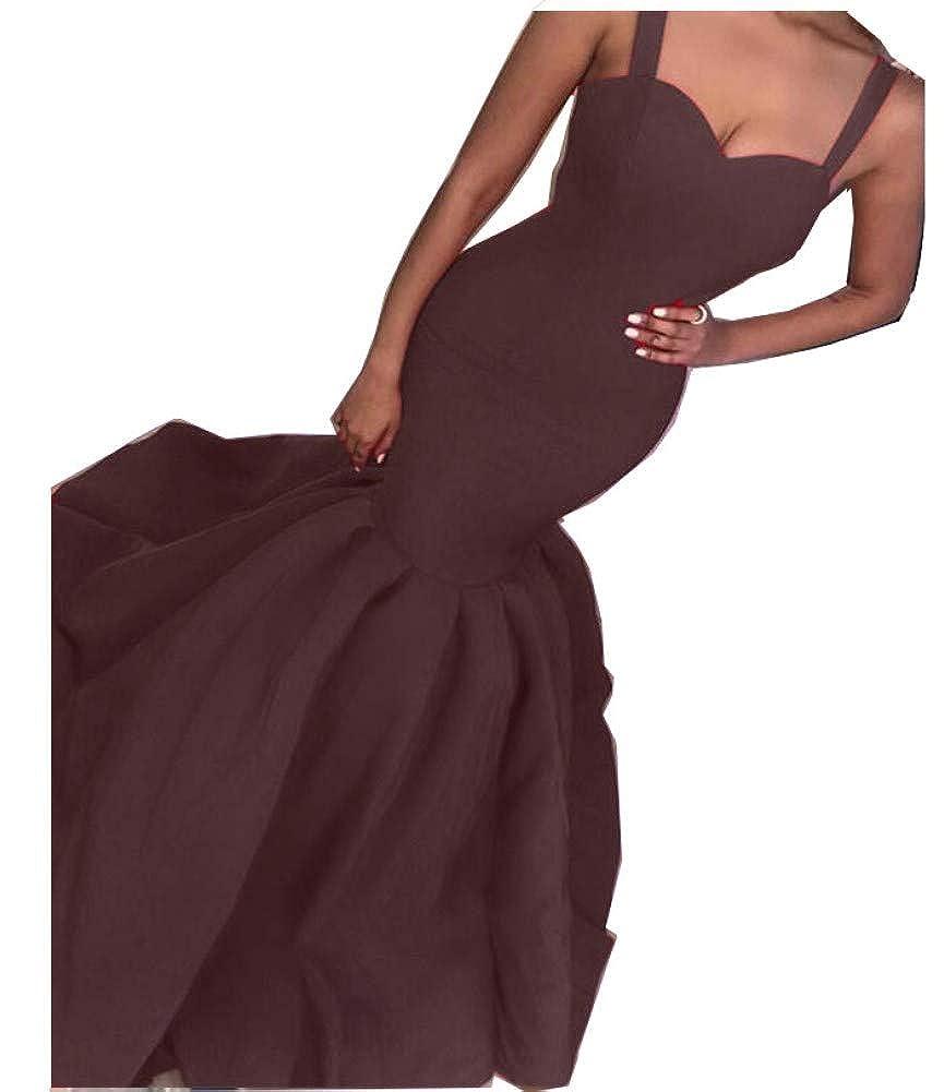 Chocolate Honeydress Women's Sexy 2019 Mermaid Evening Dress Long Spaghetti Straps Prom Gowns