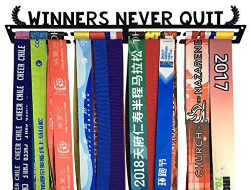 Crownyard Medal Holder - Winners Never Quit Black Medal Display Rack   Medal Hanger Marathon Race Runners, Triathlon, Gymnastics Other Sports