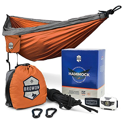 Gorilla Shooting Bag - Lightweight 2 Person (Double) Camping Hammock Includes Headlamp, Tree Straps, Carabiners and Stuff Sack