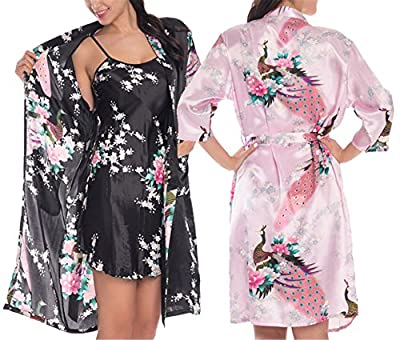 Reinhar 2 Piece Set Women Silk Peacock Kimono Robes Sexy Lingerie Women Wedding Party Bridesmaid Robe Satin Nightgown Bathrobe Pijama