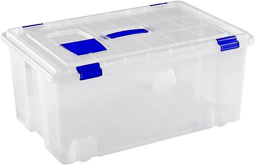 Great Plastic - Caja de clasificación de plástico con asa y ruedas ...