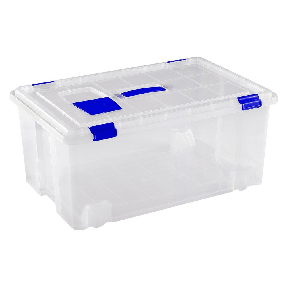 Grande scatola di plastica classificazione con manico e ruote (mod. 5), naturale Great Plastic Great Plastic_2009