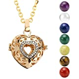 JOVIVI Gold Hollow Heart Locket Pendant With Natural 7 Chakras 16mm Ball Stones Reiki Healing Energy Beads 28